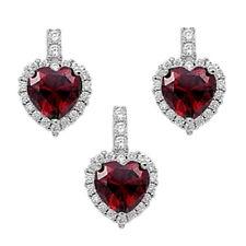 Silver Heart Set Pendant & Earrings Sterling Silver 925 Jewelry 3pcs Garnet CZ