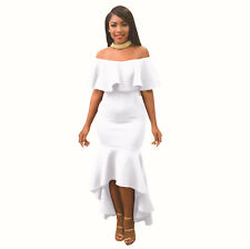 Elegant Women's Off The Shoulder Ruffle Evening Party Bodycon Mermaid Midi Dress