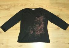 Ladies EDITIONS Black Cotton Top 3/4 sleeve Butterfly Shimmering Print