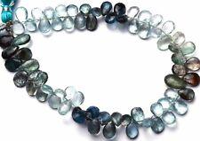 "Natural Rare Gemstone Multicolor Moss Aquamarine Pear Shape Briolette Beads 9"""