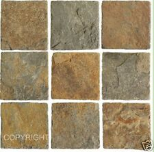Mosaic tile stickers transfers KITCHEN BATHROOM TILES STONE BROWN SLATE effect