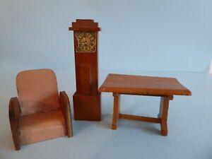 VINTAGE 1/24th, 3 pieces furniture, Dol-Toi etc, table, clock, chair, oak colour