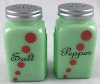 JADITE GREEN GLASS ROMAN ARCH PATTERN RED DOTS SALT & PEPPER SHAKERS SET