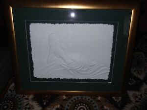 BILL MACK WALL SCULPTURE signed gold frame large rare nice art nude hand signed