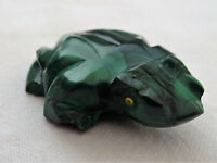 ANCIENNE GRENOUILLE DE FORTUNE  MALACHITE VERTE SCULPTEE MAIN FENG SHUI C522