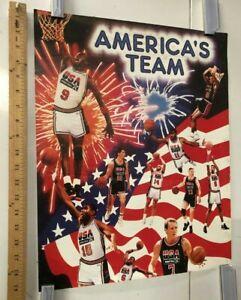 VINTAGE SPORTS POSTER America's Team USA Olympics Michael Jordan Larry Bird 1992
