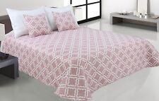 Zweiseitige Tagesdecke Bettüberwurf Steppdecke 3Tlg.180x220 Tavira 006 Rosa