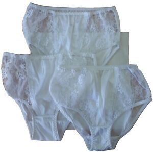 Ladies Knickers Size 12-14 UK 3 Pack, White Nylon Sheer Frilly Lacy Vintage 418