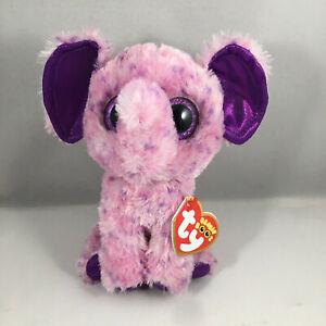 NEW 2021 TY Beanie Boos EVA the Purple Elephant (Glitter Eyes) (6 Inch) MWMTS