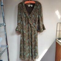 J. Jill Women's Set Wrap Dress 3/4 Bell Sleeve 100% Silk Lined Paisley Tank Sz 6