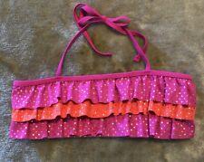 Justice Swim Bikini Top Size 14 Ruffle Pink Sparkle