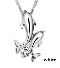 USA Seller Cute silver plated double dolphin rhinestone short-chain necklace