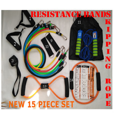 15PC Set Resistance Bands Exercise Workout Crossfit Fitness Yoga Training Tubes