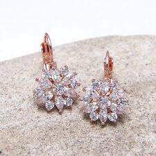 Rose Gold Flower Snowflake Star Cubic Zirconia Hook Earrings Birthday Gift