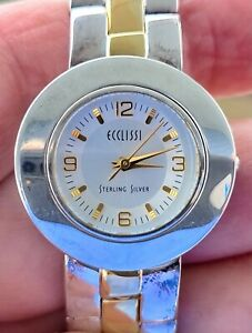 Ecclissi Sterling Silver Women's Watch New Battery, Reversible Band, Runs Great