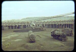 Original Railroad Slide OSLD DM&IR Roundhouse + 1215 Steam on T/T Circa 1950's