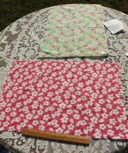 2 Pieces Of Vintage American Floral Cotton Feedsack Fabric c1940s