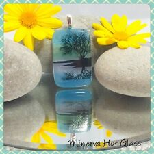 Dichroic Fused Glass, Landscape Pendant, Scenic  Pendant, by Minerva Hot Glass