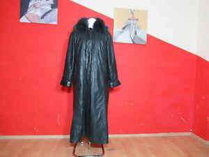 Damenledermantel mit abnehmbaren Pelzkragen, Kapuze und Weste in schwarz Gr. 46