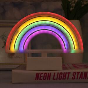 Cartoon Colorful Rainbow Neon Sign LED Bedside Night Light Wall Lamp Kids Room