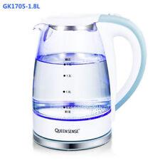 1.8L GLASS CORDLESS KETTLE ELECTRIC BLUE LED LIGHT 360 CLEAR JUG