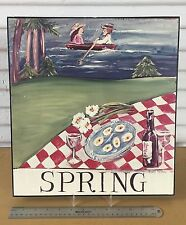 "Nancy Thomas Plaque Folk Art ""SPRING"" Seasons Large Plaque Wood 14"" x 15"" (1994)"