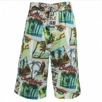 boys mesh lined swim swimming swimwear long shorts bermuda california surf NEW