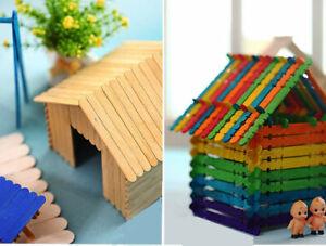 50-500 Lollipop Sticks Wooden Lolly Ice Pop Round Wooden Craft Model Kids Making