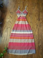 Missoni Long red orange grey taupe Dress Spaghetti Strap Tie Belt 42