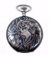 Antique Henry Moser & Cie Art Nouveau Silver Niello Pocket Watch Vintage 1890's