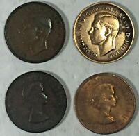 England UK Great Britain Half 1/2 Penny Lot x 4 Circulated 1937-1941-1967-1967