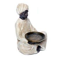 Skulptur Inder Mann mit Tablett Mohr mit Teelicht Schale Deko Figur orientalisch