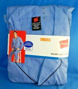 Hanes Mens 2-Piece Blue Striped Woven Sleepwear Pajama Set Sleep Set Sz XL