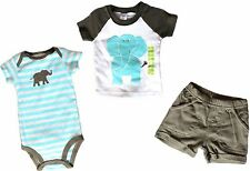 CARTERS Baby Boy 3 Piece Set ROMPER SHORTS T.SHIRT Brown Blue ELEPHANT | 3 mths