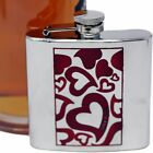 6 oz Stainless Steel Whimsical Red Hearts Print Alcohol Liquor Flask