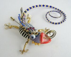Cynthia Chuang Jewelry 10 Handcrafted Porcelain Beaded Chameleon Pin Brooch