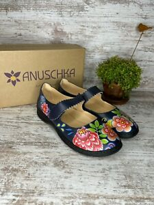 New~ Women's Anuschka Ella Retro Bouquet Printed Leather Mary Jane Shoes Size 10