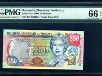 Bermuda:P-54a,50 Dollars,2000 * Queen Elizabeth II * PMG Gem UNC 66 EPQ *