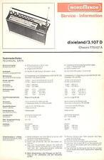 Nordmende original Service Manual para dixieland 3.107 D