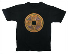 HAND PAINTED & BEADED CHINESE COIN T-SHIRT - Black - Medium .. cotton . [Ind4 ]