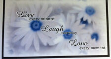 CHECKBOOK COVER BLUE & WHITE FLOWERS WITH GRAY TONES DESIGN LIVE, LAUGH, LOVE