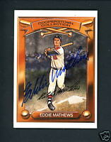 Eddie Mathews SIGNED 1989 Hillshire Farm Kahn's Cooperstown Collection card JSA