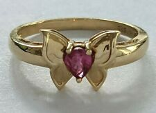 14K Yellow Gold Ring Butterfly with Pear Shape Ruby Design Finger Size 6.75