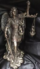 Arch Angel St Michael Weighing Of The Souls Bronze coated Statue 20cm tall