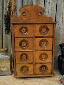 Antique Primitive Oak Wooden Spice Cabinet 8 Drawer Apothecary Pantry