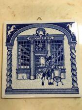 """Delf Holland Handmade Tile ~ Apothecary Apotheek Medicine ~ 6"""" x 6"""" Blue Pottery"""