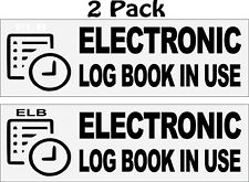 """2 E Log In Use Electronic Log Book Truck ELD ICC Decal Sticker 2.5"""" x 8.0"""""""