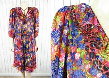 Vintage 80s Diane Freis Print Tassel Tie Georgette Ruffle Gypsy 2pc Dress S/M