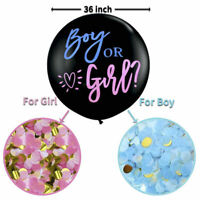 XXL Gender Reveal Balloon for Baby Boy or Girl with Pink+Blue Confetti & Ribbon