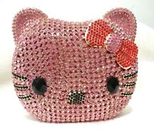 Pink Silver KITTY CAT Luxury Handmade JEWELED CRYSTAL Evening Bag Clutch Bag